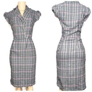 Shabby apple checkered faux wrap fitted dress
